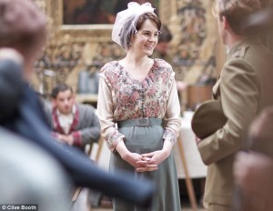 Mary and Matthew prep for a scene. Copyright the Daily Mail.