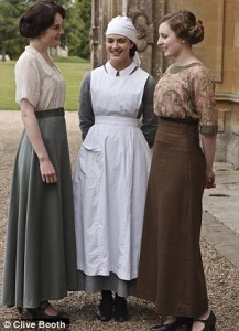 The Crawley sisters in Downton Abbey S2. Copyright Daily Mail